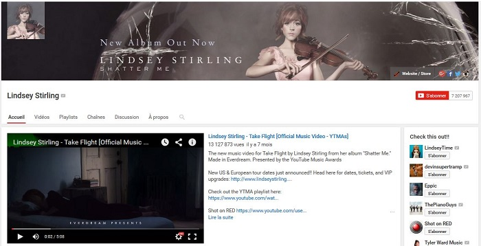 chaine youtube Lindsey Stirling